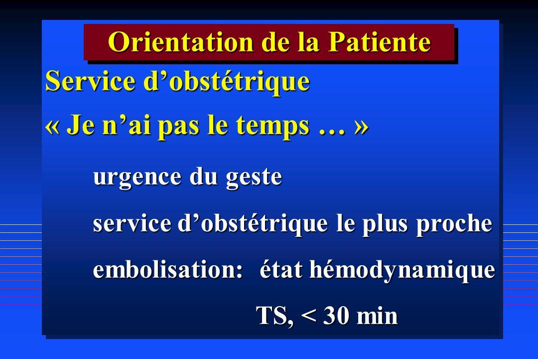 Service dobstétrique « Je nai pas le temps … » urgence du geste service dobstétrique le plus proche embolisation: état hémodynamique TS, < 30 min TS,
