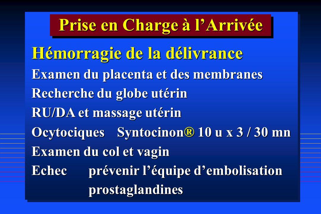 Hémorragie de la délivrance Examen du placenta et des membranes Recherche du globe utérin RU/DA et massage utérin OcytociquesSyntocinon ® 10 u x 3 / 3