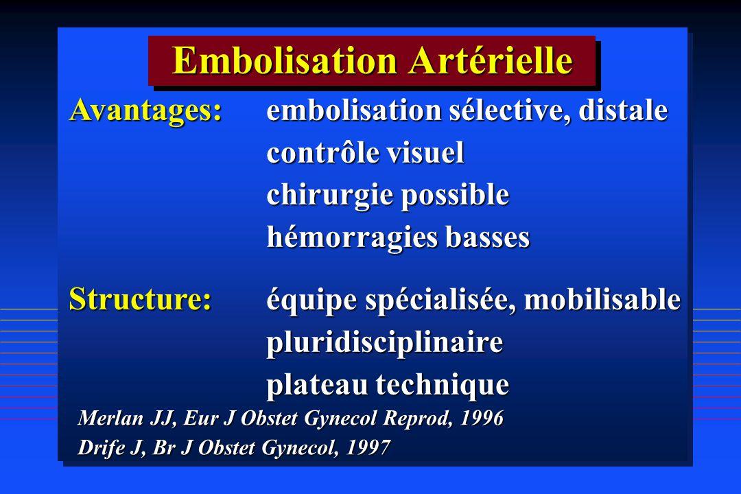 Embolisation Artérielle Avantages: embolisation sélective, distale contrôle visuel contrôle visuel chirurgie possible chirurgie possible hémorragies b