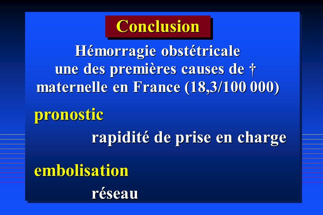 ConclusionConclusion pronostic rapidité de prise en charge embolisationréseau Hémorragie obstétricale une des premières causes de une des premières ca
