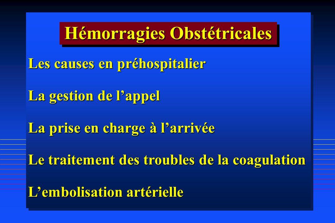 Les causes en préhospitalier La gestion de lappel La prise en charge à larrivée Le traitement des troubles de la coagulation Lembolisation artérielle