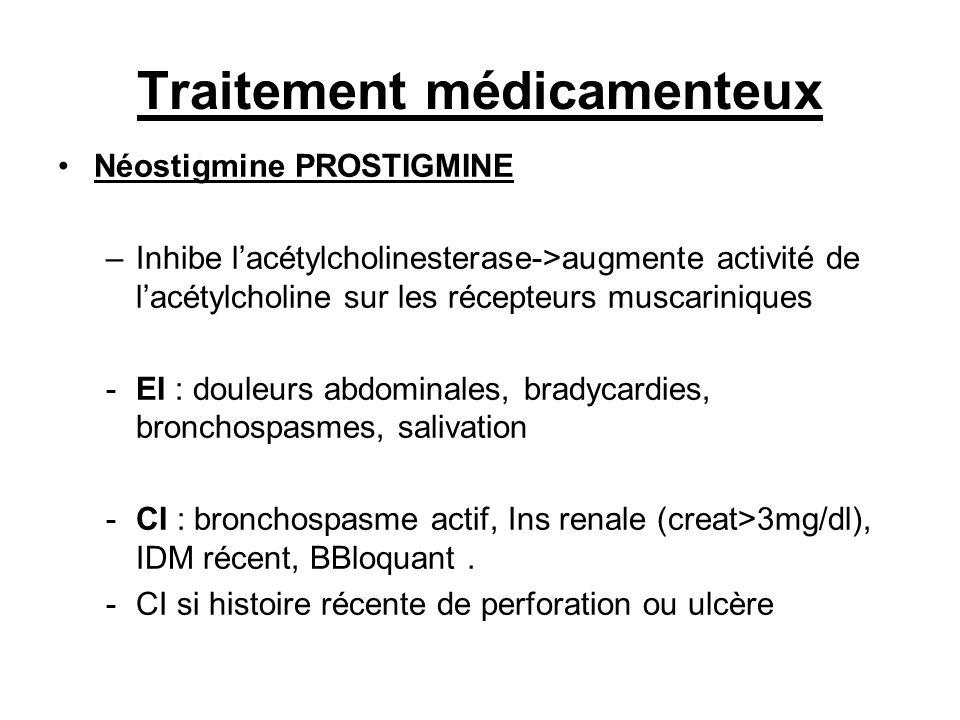 Traitement médicamenteux Néostigmine PROSTIGMINE –Inhibe lacétylcholinesterase->augmente activité de lacétylcholine sur les récepteurs muscariniques -EI : douleurs abdominales, bradycardies, bronchospasmes, salivation -CI : bronchospasme actif, Ins renale (creat>3mg/dl), IDM récent, BBloquant.