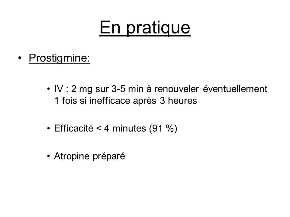 En pratique Prostigmine: IV : 2 mg sur 3-5 min à renouveler éventuellement 1 fois si inefficace après 3 heures Efficacité < 4 minutes (91 %) Atropine