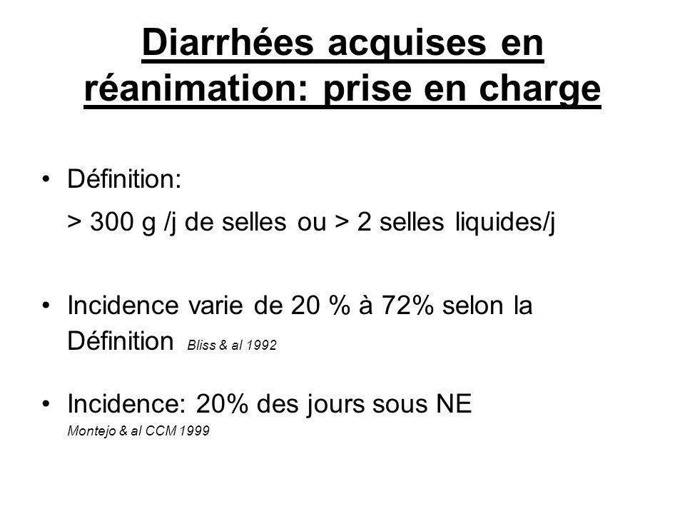 Diarrhées acquises en réanimation: prise en charge Définition: > 300 g /j de selles ou > 2 selles liquides/j Incidence varie de 20 % à 72% selon la Définition Bliss & al 1992 Incidence: 20% des jours sous NE Montejo & al CCM 1999