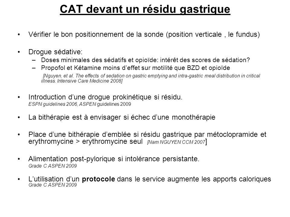 CAT devant un résidu gastrique Vérifier le bon positionnement de la sonde (position verticale, le fundus) Drogue sédative: –Doses minimales des sédati