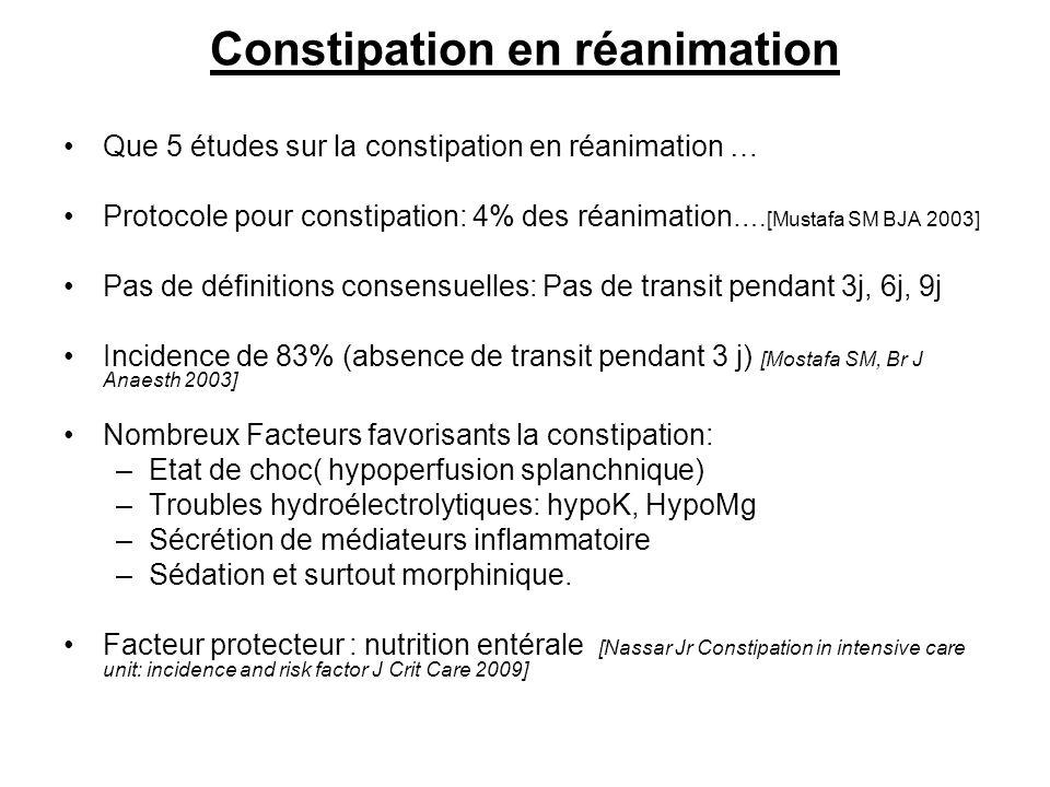 Constipation en réanimation Que 5 études sur la constipation en réanimation … Protocole pour constipation: 4% des réanimation …. [Mustafa SM BJA 2003]
