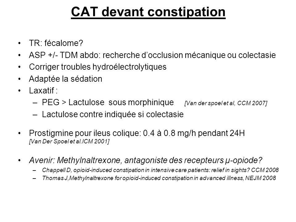 CAT devant constipation TR: fécalome? ASP +/- TDM abdo: recherche docclusion mécanique ou colectasie Corriger troubles hydroélectrolytiques Adaptée la