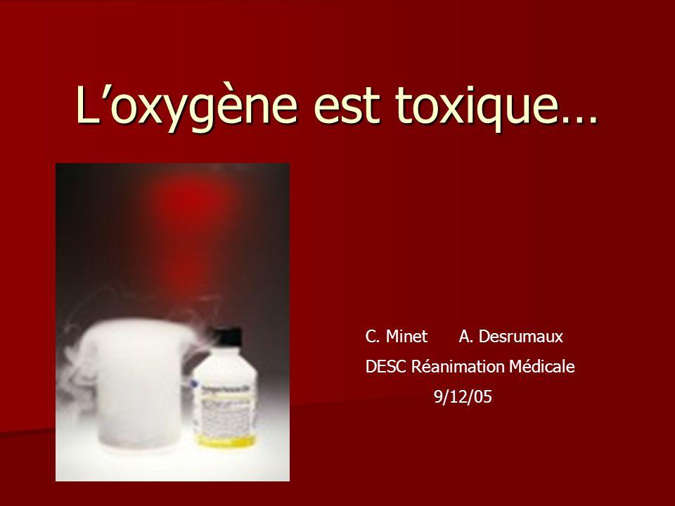 Loxygène est toxique… C. Minet A. Desrumaux DESC Réanimation Médicale 9/12/05