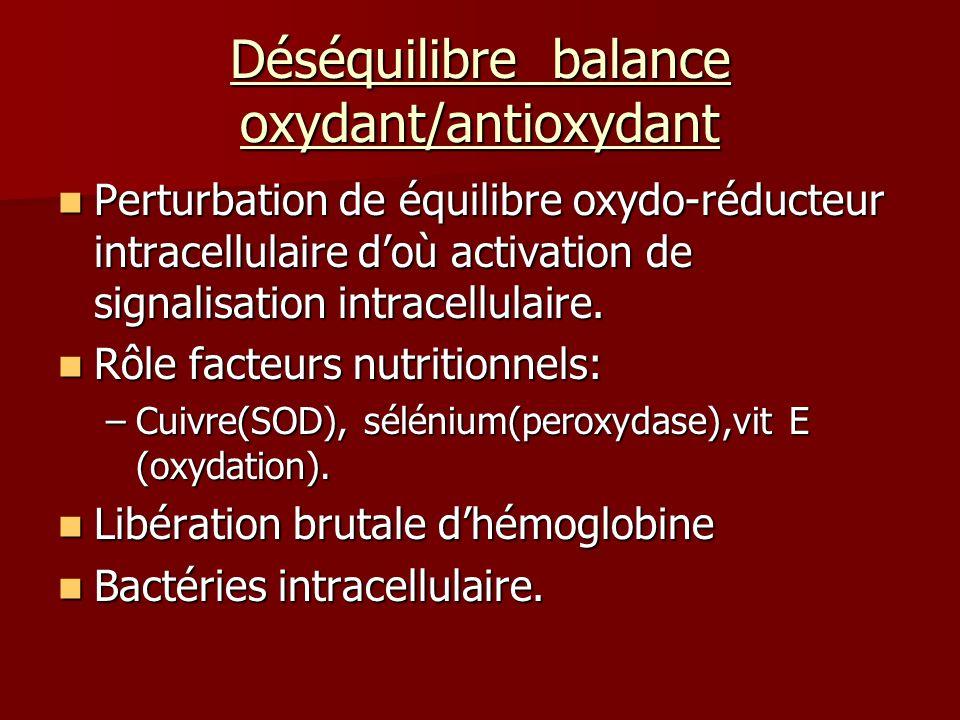 Déséquilibre balance oxydant/antioxydant Perturbation de équilibre oxydo-réducteur intracellulaire doù activation de signalisation intracellulaire. Pe