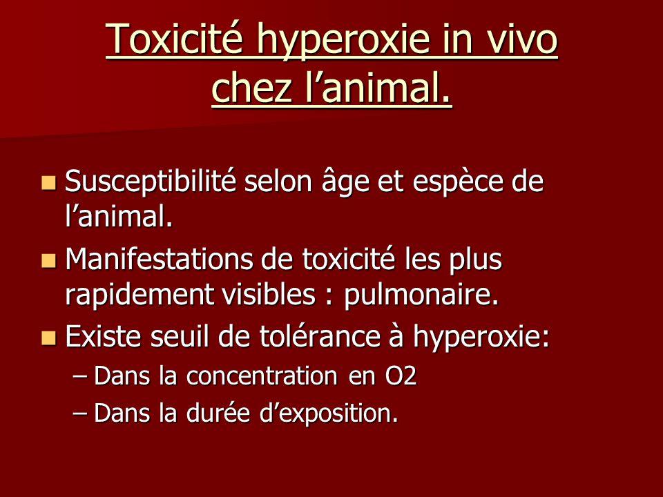 Toxicité hyperoxie in vivo chez lanimal. Susceptibilité selon âge et espèce de lanimal. Susceptibilité selon âge et espèce de lanimal. Manifestations