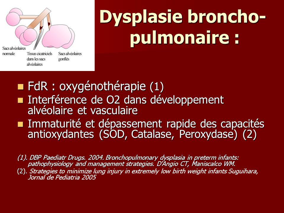 Dysplasie broncho- pulmonaire : Dysplasie broncho- pulmonaire : FdR : oxygénothérapie (1) FdR : oxygénothérapie (1) Interférence de O2 dans développem