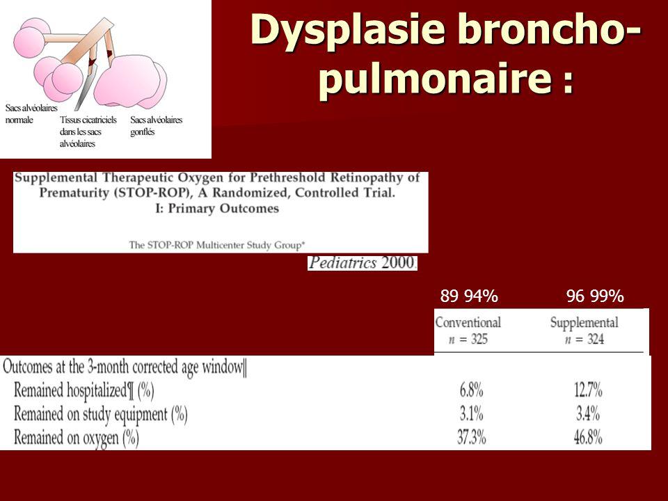 Dysplasie broncho- pulmonaire : 89 94% 96 99%