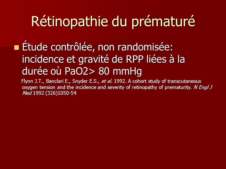 Rétinopathie du prématuré Étude contrôlée, non randomisée: incidence et gravité de RPP liées à la durée où PaO2> 80 mmHg Étude contrôlée, non randomis