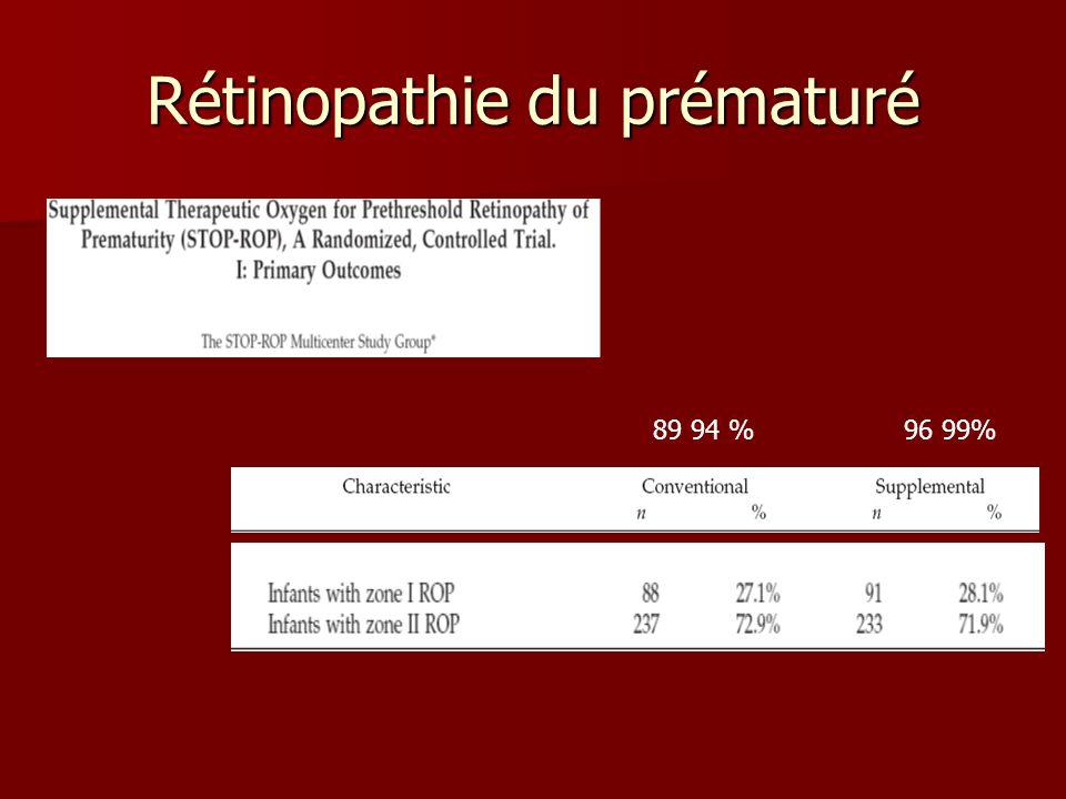 Rétinopathie du prématuré 89 94 % 96 99%