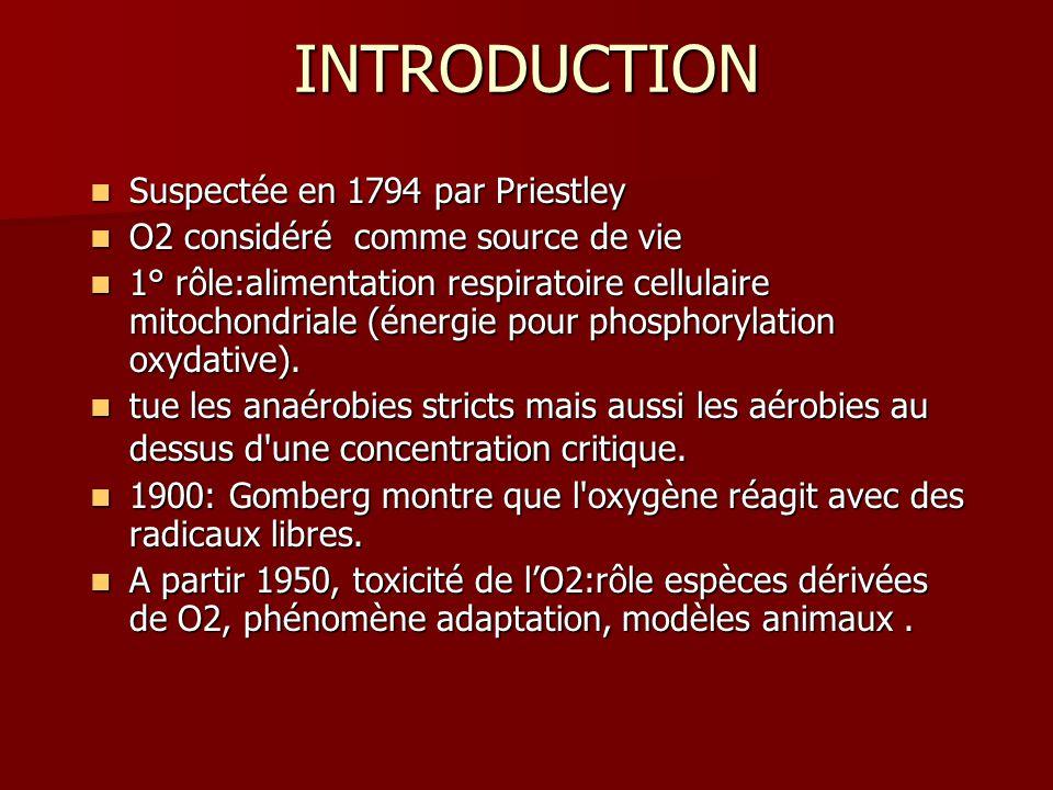 PHYSIOPATHOLOGIE Principaux mécanismes de toxicité de O2: Principaux mécanismes de toxicité de O2: –Production in situ despèces dérivées de loxygène(ROS).
