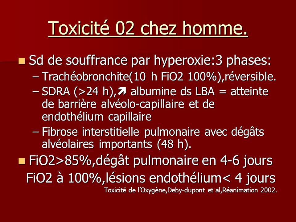 Toxicité 02 chez homme. Sd de souffrance par hyperoxie:3 phases: Sd de souffrance par hyperoxie:3 phases: –Trachéobronchite(10 h FiO2 100%),réversible