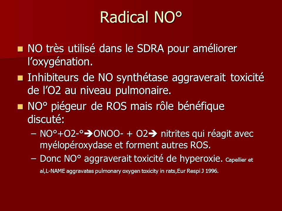 Radical NO° NO très utilisé dans le SDRA pour améliorer loxygénation. NO très utilisé dans le SDRA pour améliorer loxygénation. Inhibiteurs de NO synt