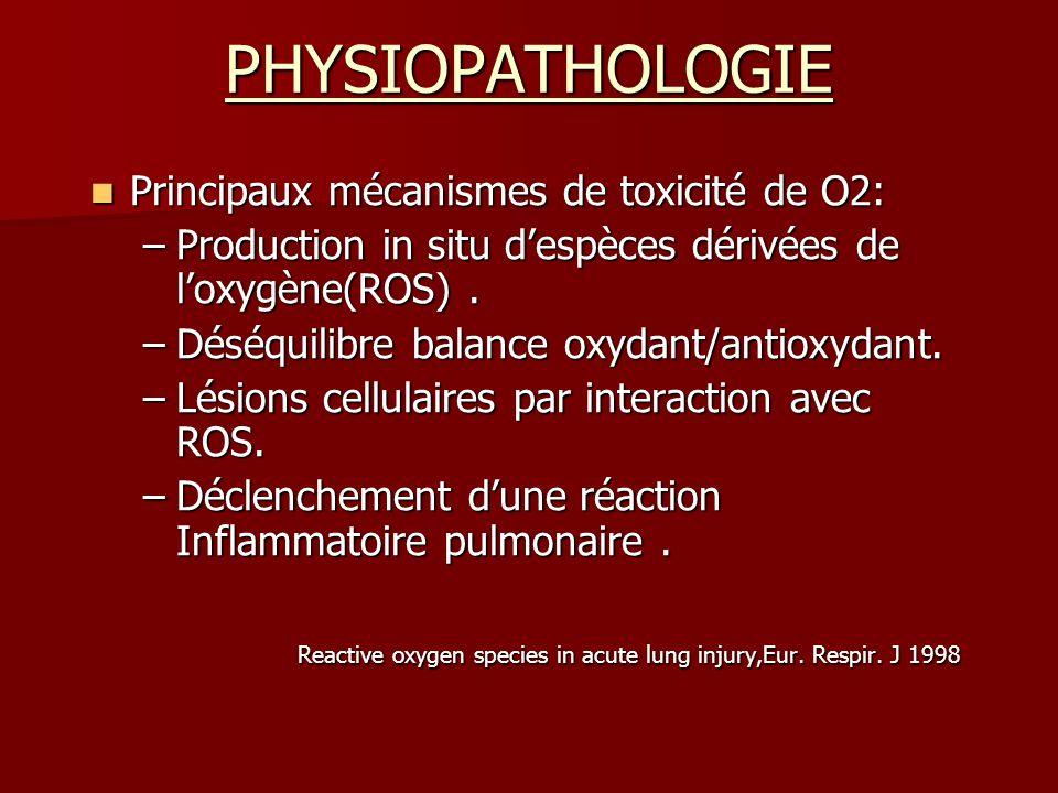 PHYSIOPATHOLOGIE Principaux mécanismes de toxicité de O2: Principaux mécanismes de toxicité de O2: –Production in situ despèces dérivées de loxygène(R