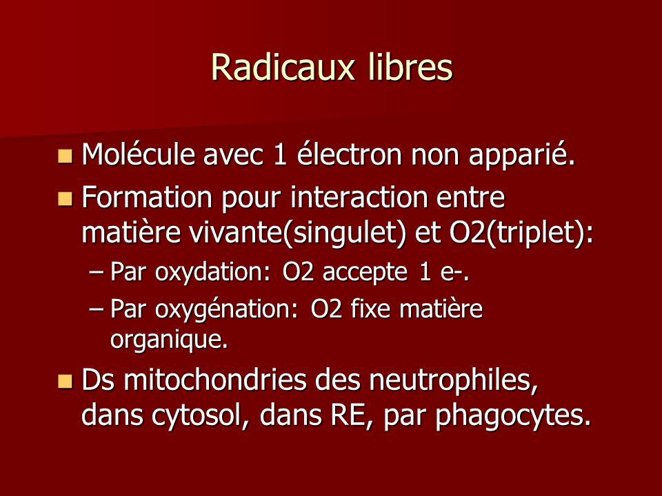 Radicaux libres Molécule avec 1 électron non apparié. Molécule avec 1 électron non apparié. Formation pour interaction entre matière vivante(singulet)