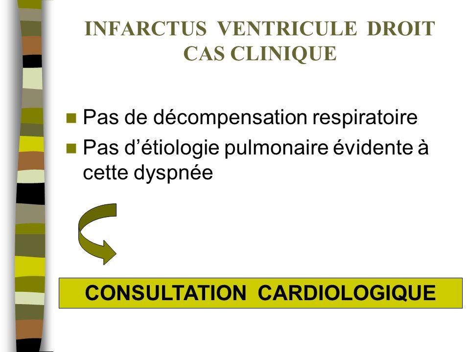 INFARCTUS VENTRICULE DROIT CAS CLINIQUE ADMISSION EN CARDIOLOGIE (1) –Dégradation clinique notable Hypotension artérielle (80 à 90 mm Hg) Signes de décompensation droite (jugulaires turgescentes, hépatomégalie) Oligurie –Signes électriques Bradycardie sinusale Sus-décalage en DII, DIII, VF