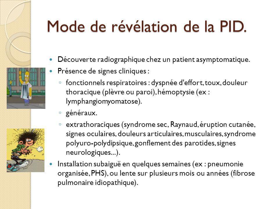 Mode de révélation de la PID.Découverte radiographique chez un patient asymptomatique.