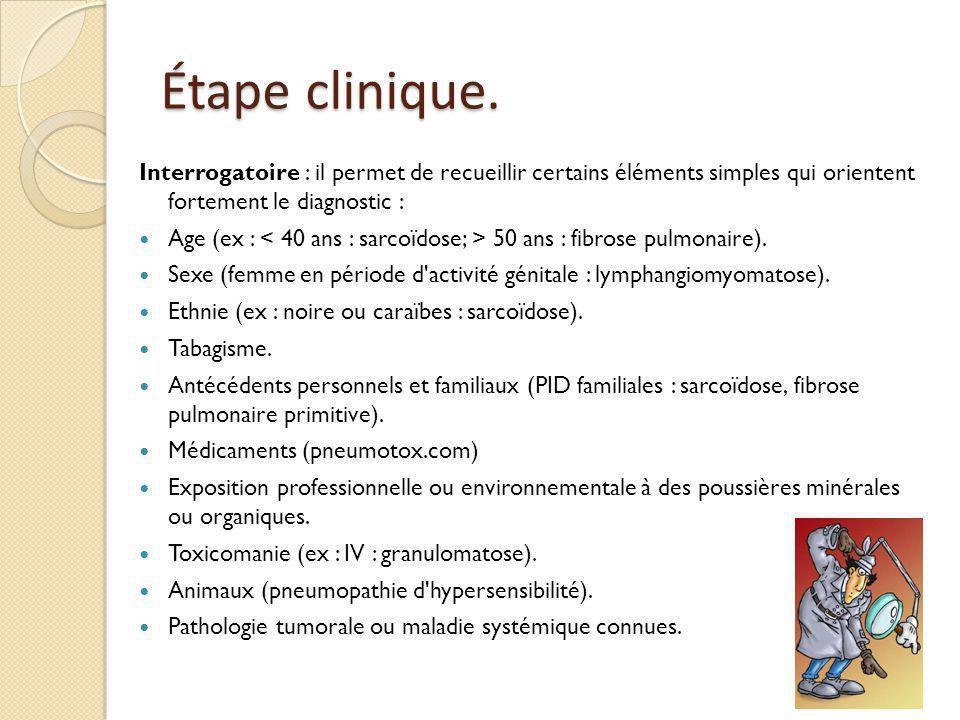 Examen physique.râles crépitants (atteinte parenchymateuse basale et périphérique).
