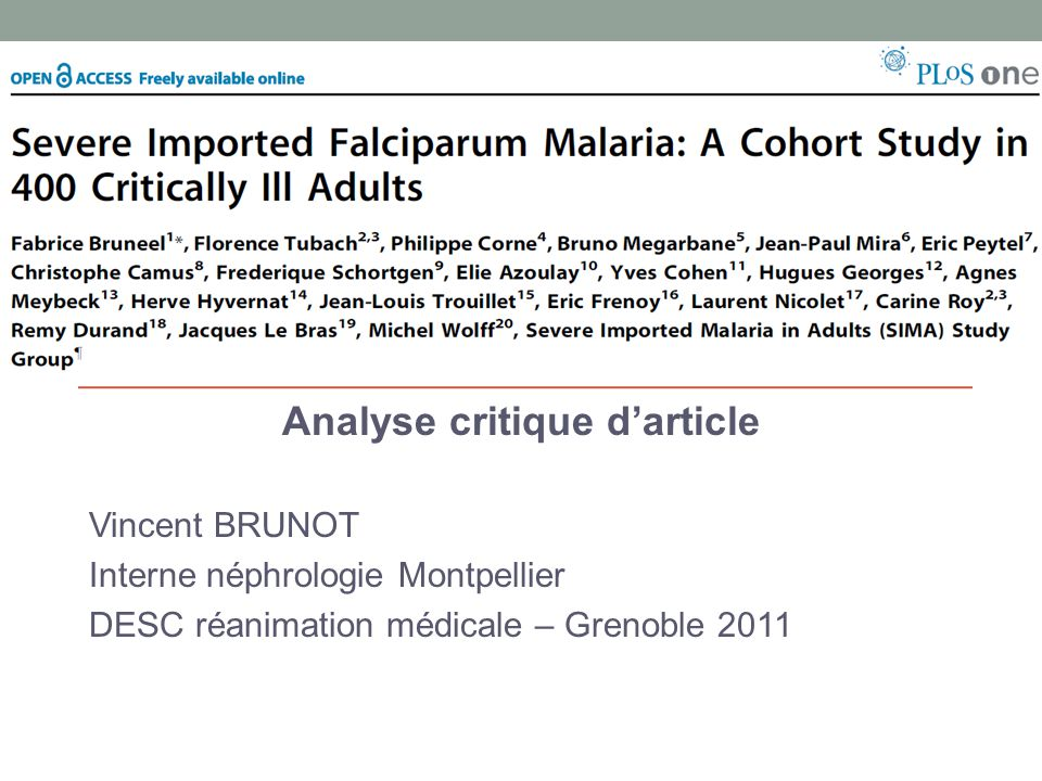Analyse critique darticle Vincent BRUNOT Interne néphrologie Montpellier DESC réanimation médicale – Grenoble 2011