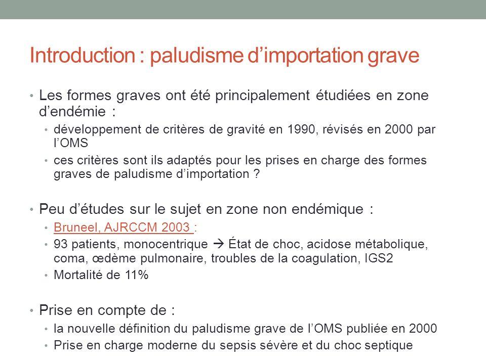 Introduction : paludisme dimportation grave Les formes graves ont été principalement étudiées en zone dendémie : développement de critères de gravité en 1990, révisés en 2000 par lOMS ces critères sont ils adaptés pour les prises en charge des formes graves de paludisme dimportation .