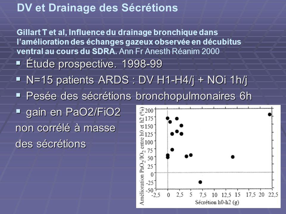 DV et Drainage des Sécrétions Gillart T et al, Influence du drainage bronchique dans lamélioration des échanges gazeux observée en décubitus ventral au cours du SDRA.