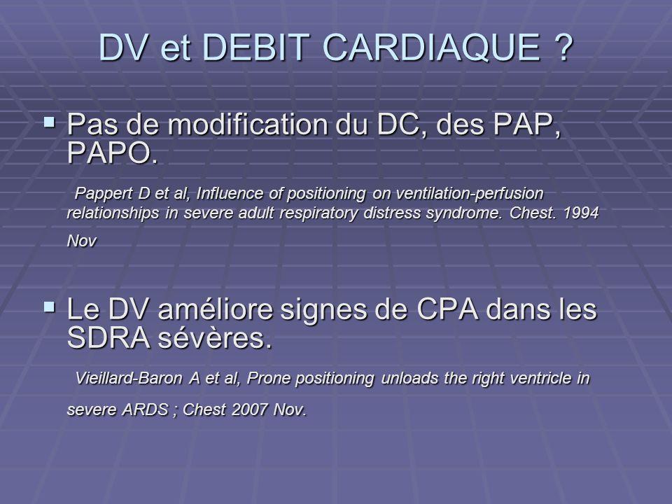DV et DEBIT CARDIAQUE ? Pas de modification du DC, des PAP, PAPO. Pas de modification du DC, des PAP, PAPO. Pappert D et al, Influence of positioning