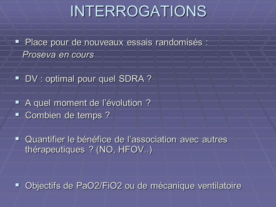 INTERROGATIONS Place pour de nouveaux essais randomisés : Place pour de nouveaux essais randomisés : Proseva en cours Proseva en cours DV : optimal pour quel SDRA .