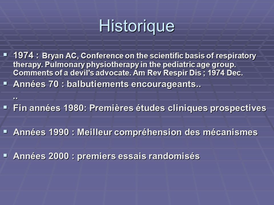 Historique 1974 : Bryan AC, Conference on the scientific basis of respiratory therapy. Pulmonary physiotherapy in the pediatric age group. Comments of