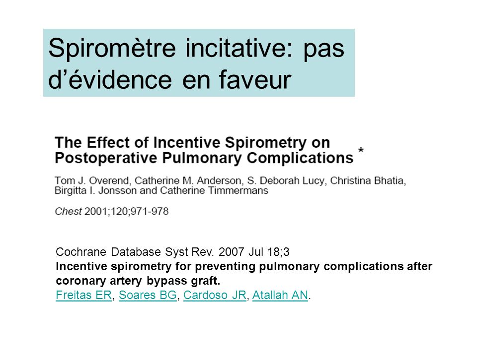 Cochrane Database Syst Rev. 2007 Jul 18;3 Incentive spirometry for preventing pulmonary complications after coronary artery bypass graft. Freitas ERFr