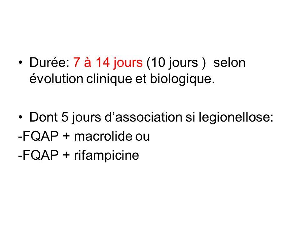 Durée: 7 à 14 jours (10 jours ) selon évolution clinique et biologique. Dont 5 jours dassociation si legionellose: -FQAP + macrolide ou -FQAP + rifamp