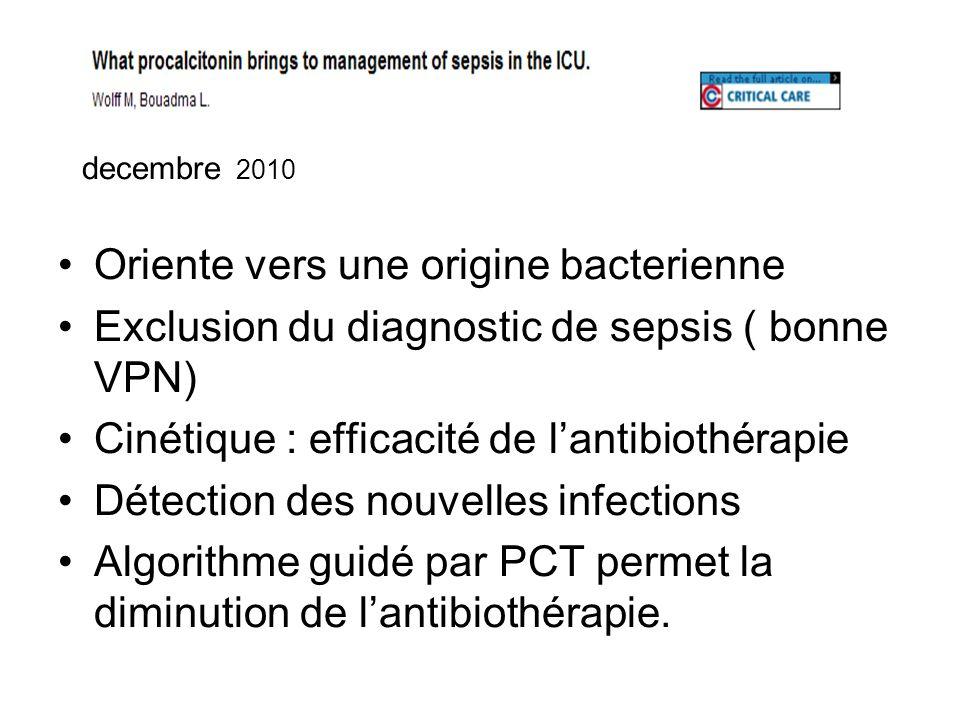 2010 decembre 2010 Oriente vers une origine bacterienne Exclusion du diagnostic de sepsis ( bonne VPN) Cinétique : efficacité de lantibiothérapie Déte