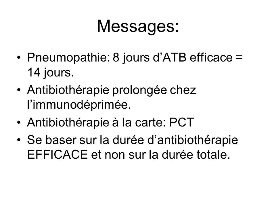 Messages: Pneumopathie: 8 jours dATB efficace = 14 jours. Antibiothérapie prolongée chez limmunodéprimée. Antibiothérapie à la carte: PCT Se baser sur