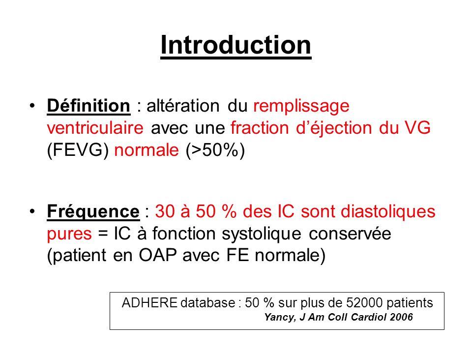 Introduction Définition : altération du remplissage ventriculaire avec une fraction déjection du VG (FEVG) normale (>50%) Fréquence : 30 à 50 % des IC sont diastoliques pures = IC à fonction systolique conservée (patient en OAP avec FE normale) ADHERE database : 50 % sur plus de 52000 patients Yancy, J Am Coll Cardiol 2006