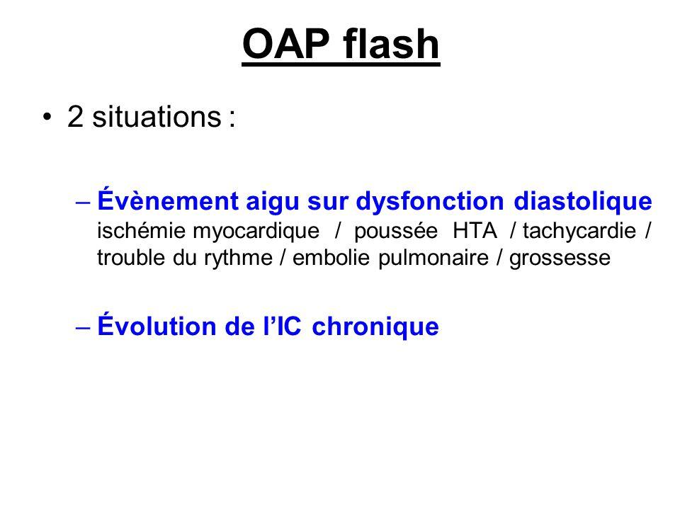 OAP flash 2 situations : –Évènement aigu sur dysfonction diastolique ischémie myocardique / poussée HTA / tachycardie / trouble du rythme / embolie pulmonaire / grossesse –Évolution de lIC chronique