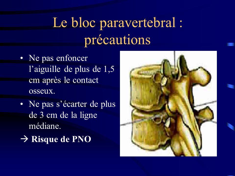 Le bloc paravertebral : précautions Ne pas enfoncer laiguille de plus de 1,5 cm après le contact osseux.