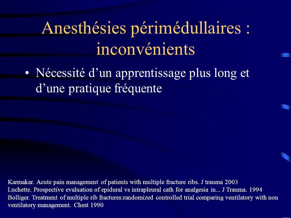 Anesthésies périmédullaires : inconvénients Nécessité dun apprentissage plus long et dune pratique fréquente Karmakar.