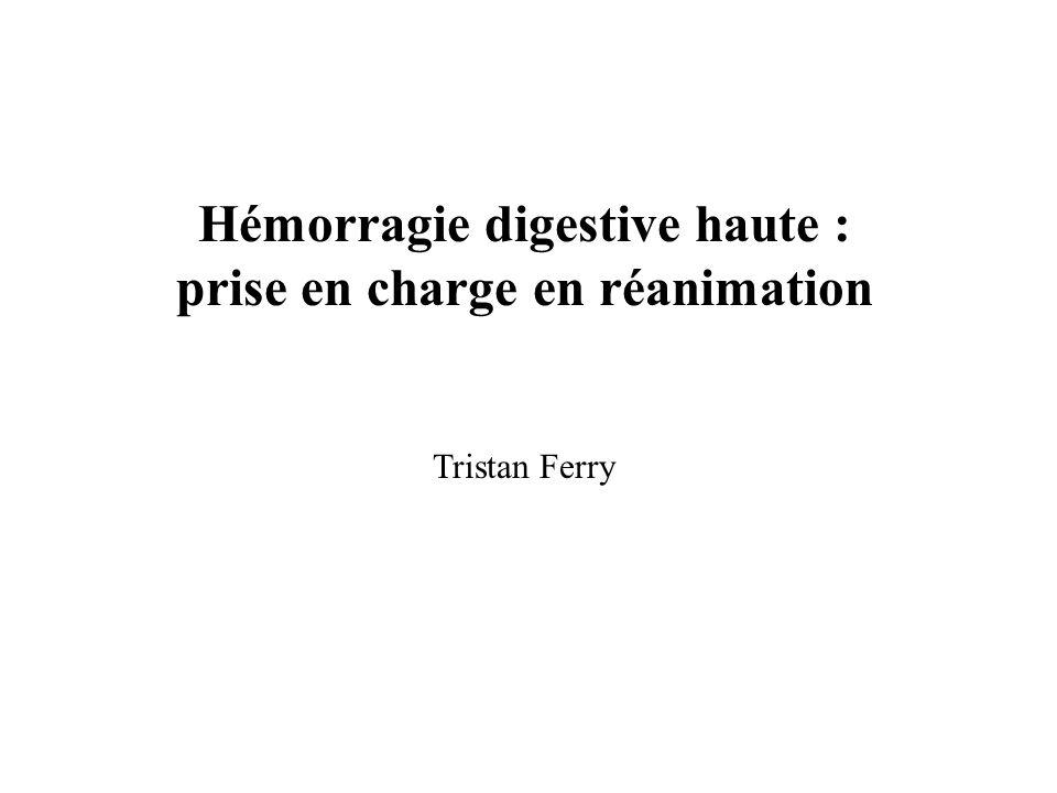 Définition - Incidence - Etiologies Hémorragie digestive en amont de langle de Treitz 150 000 / an en France Hématémèse 2/3 des cas Prise dAINS (RR 2,7) Prise daspirine (RR 3,38) Infestation à Helicobacter pylori (RR 1,78) Synergie AINS et Helicobacter pylori (RR 6,13) Cirrhose