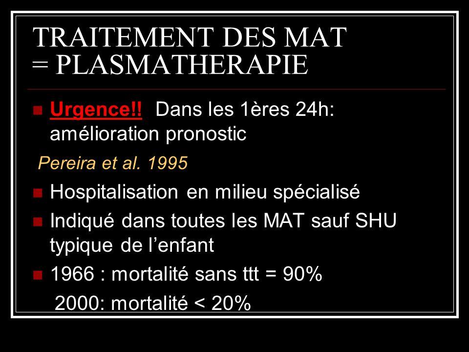 TRAITEMENT DES MAT = PLASMATHERAPIE Urgence!! Dans les 1ères 24h: amélioration pronostic Pereira et al. 1995 Hospitalisation en milieu spécialisé Indi