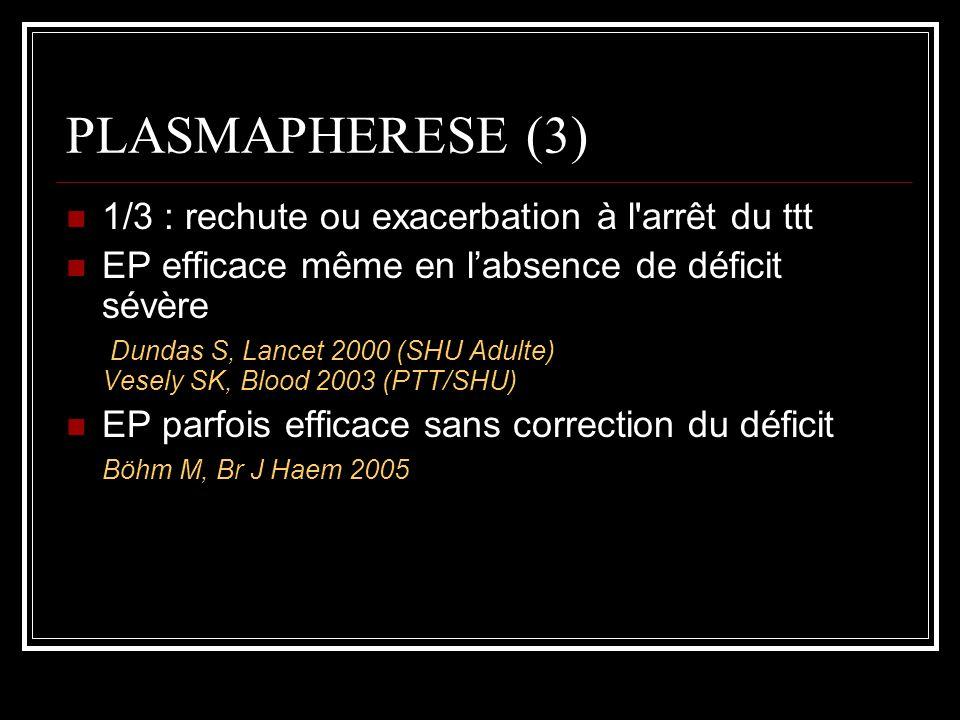 PLASMAPHERESE (3) 1/3 : rechute ou exacerbation à l'arrêt du ttt EP efficace même en labsence de déficit sévère Dundas S, Lancet 2000 (SHU Adulte) Ves