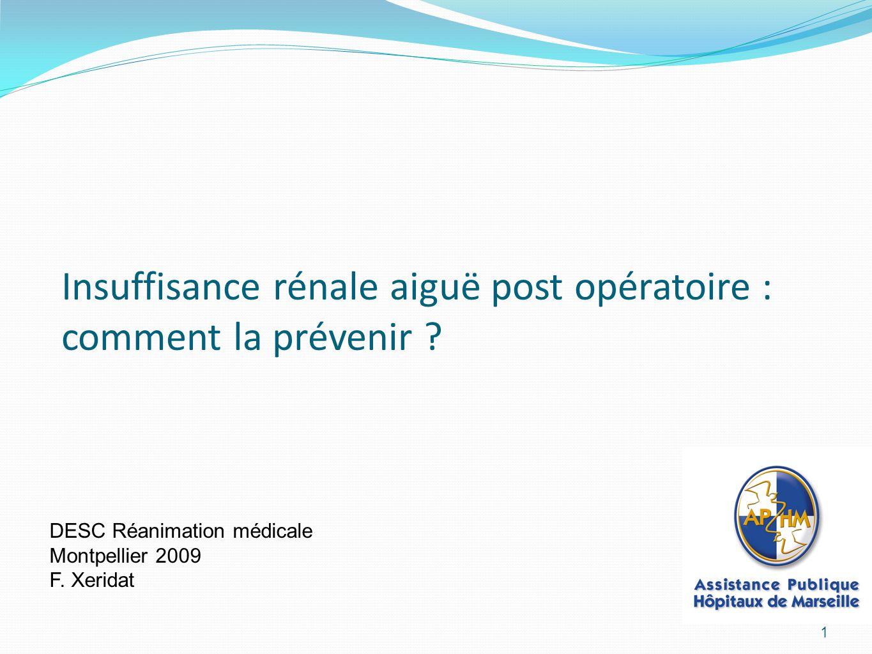 Insuffisance rénale aiguë post opératoire : comment la prévenir .