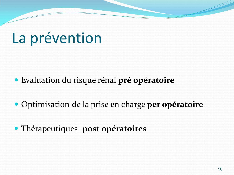 La prévention Evaluation du risque rénal pré opératoire Optimisation de la prise en charge per opératoire Thérapeutiques post opératoires 10