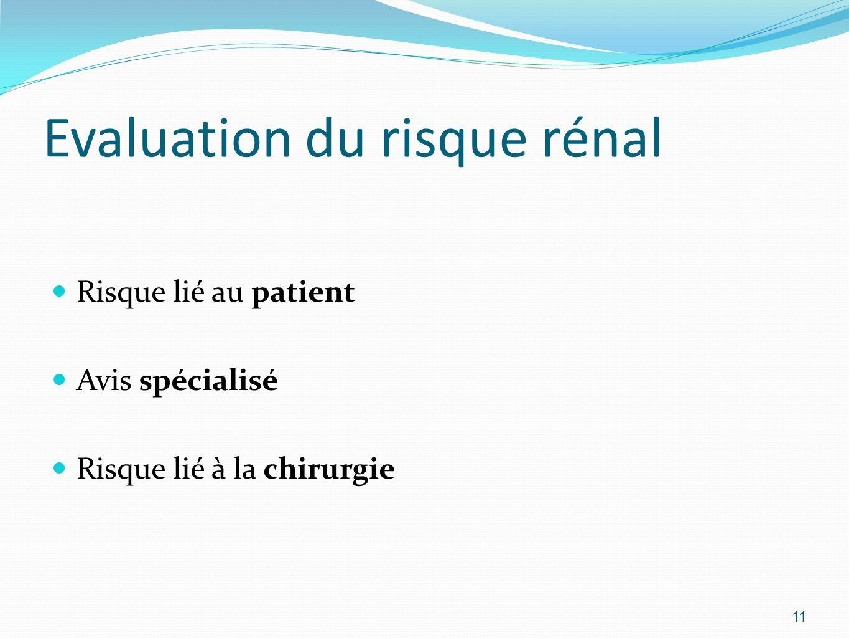 Evaluation du risque rénal Risque lié au patient Avis spécialisé Risque lié à la chirurgie 11