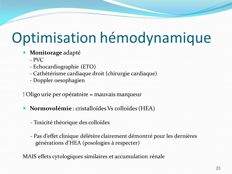 Optimisation hémodynamique Monitorage adapté - PVC - Echocardiographie (ETO) - Cathétérisme cardiaque droit (chirurgie cardiaque) - Doppler oesophagien .