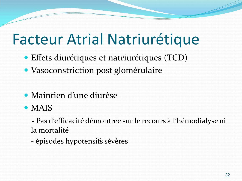 Facteur Atrial Natriurétique Effets diurétiques et natriurétiques (TCD) Vasoconstriction post glomérulaire Maintien dune diurèse MAIS - Pas defficacité démontrée sur le recours à lhémodialyse ni la mortalité - épisodes hypotensifs sévères 32