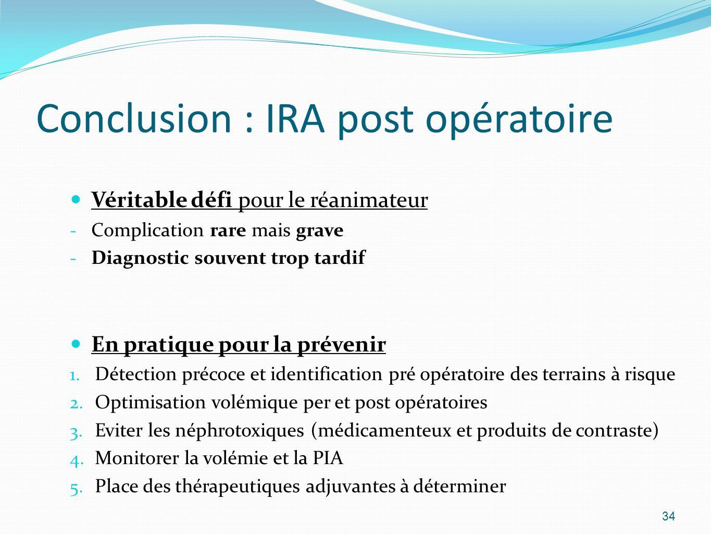 Conclusion : IRA post opératoire Véritable défi pour le réanimateur - Complication rare mais grave - Diagnostic souvent trop tardif En pratique pour la prévenir 1.