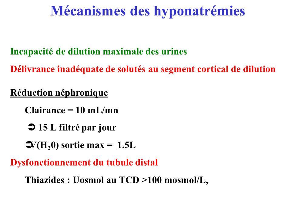 Mécanismes des hyponatrémies Incapacité de dilution maximale des urines Délivrance inadéquate de solutés au segment cortical de dilution Réduction nép